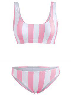 Conjunto De Bikini De Tirantes A Rayas - Cerdo Rosa L