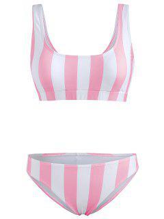 Ensemble Bikini à Rayures - Rose Cochon M
