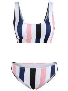 Colorful Stripe Tank Bikini Set - Multi L