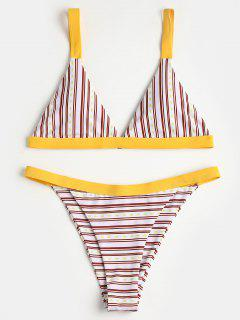 Striped Padded Bra With Swim Thong - Multi L