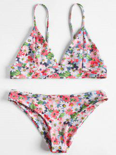Bikini Caraco à Imprimé Fleurs - Rose Clair L