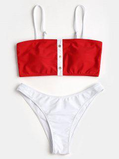 Kontrastfarbe Faux Button Bandeau Bikini Set - Rot L