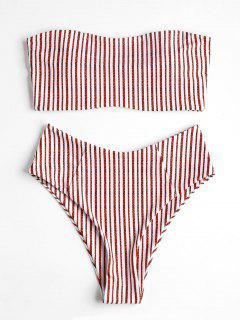 High Waisted Striped Bandeau Bikini Swimwear - Red S