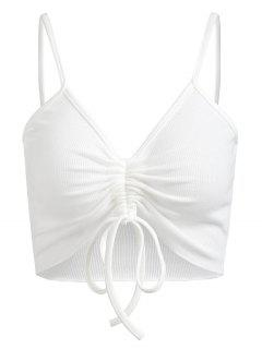 Gathered Ribbed Cami Crop Top - White S
