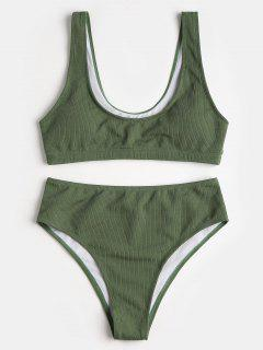 Scoop Neck Padded High Cut Bikini Set - Army Green M