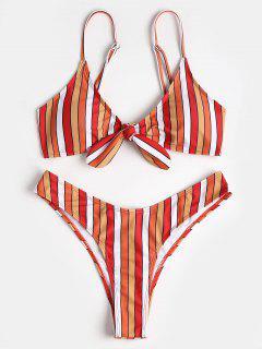 Contrast Stripe Knotted High Leg Bikini - Multi L