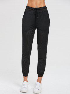Pantalones De Chándal De Malla Con Cordón - Negro S