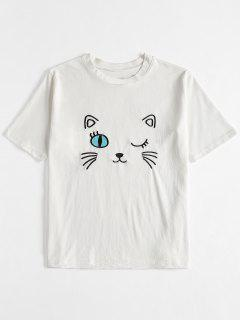 T-shirt Mignon Brodé - Blanc
