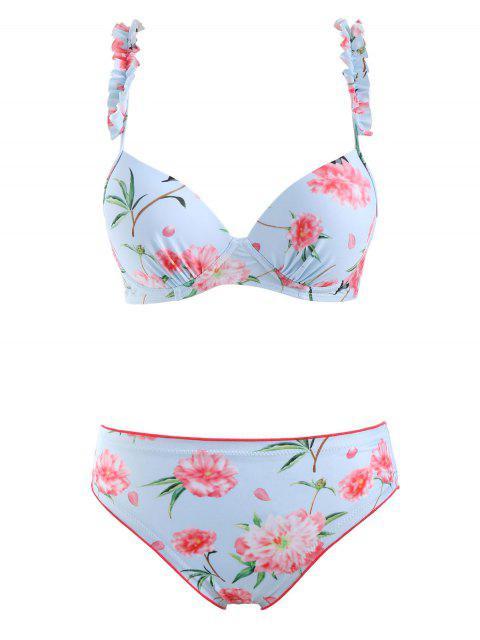 chic Frilled Floral Underwire Bikini Set - SEA BLUE L Mobile