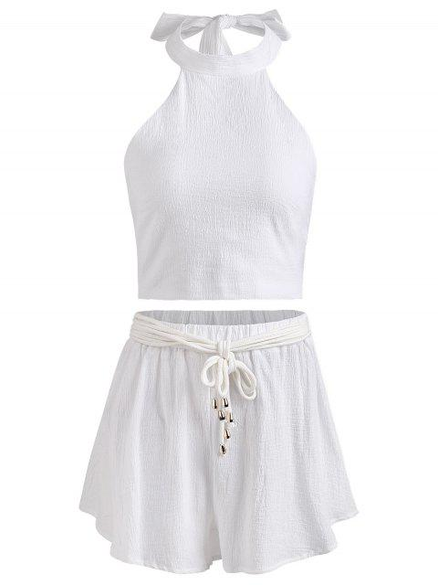 fashion Halter Backless Crop Top and Shorts Set - WHITE S Mobile