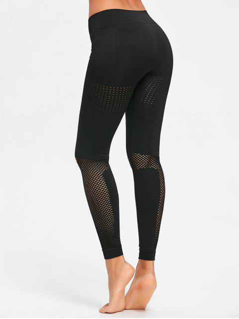 fancy Sculpt Perforated Sports Leggings - BLACK L Mobile