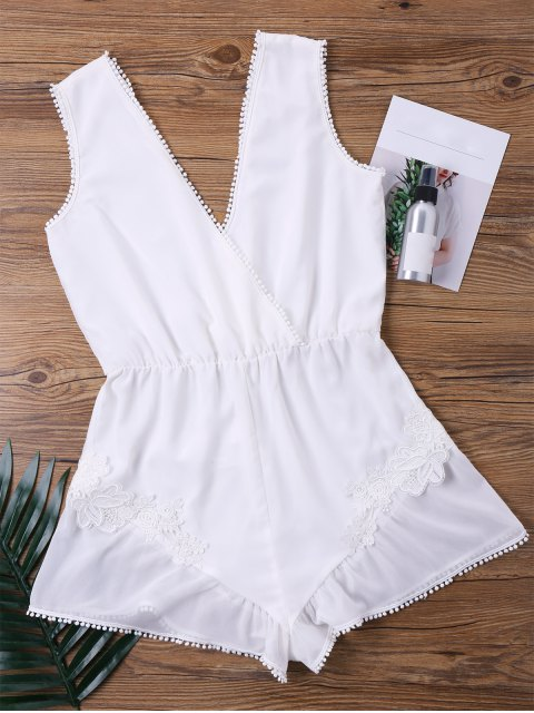 unique Fringed Sheer Plunging Neck Romper - WHITE XL Mobile
