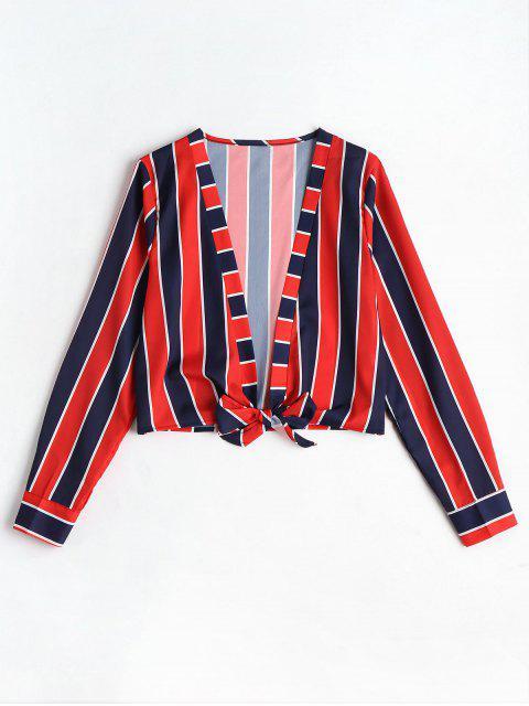 latest Self Tie Hem Striped Blouse - RED L Mobile