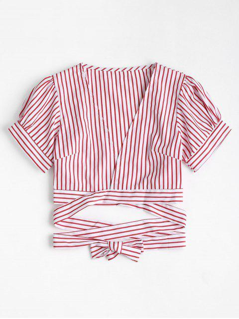 chic Puff Sleeve Striped Plunge Blouse - RED L Mobile