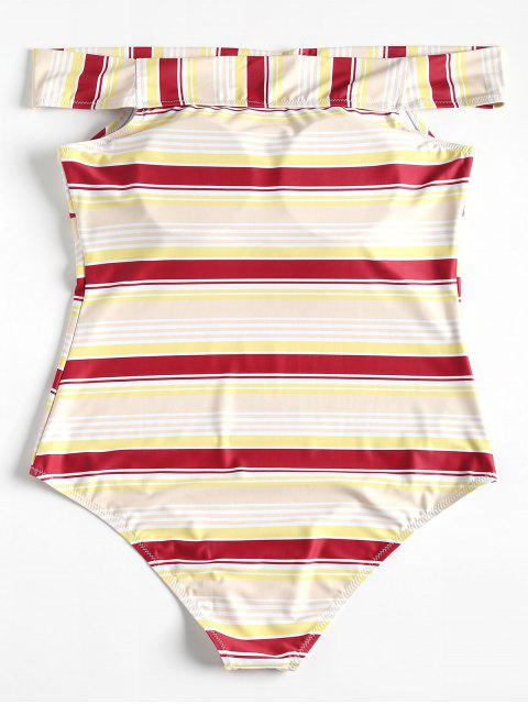 lady Plus Size Striped One Piece Swimsuit - RED WINE 4X Mobile