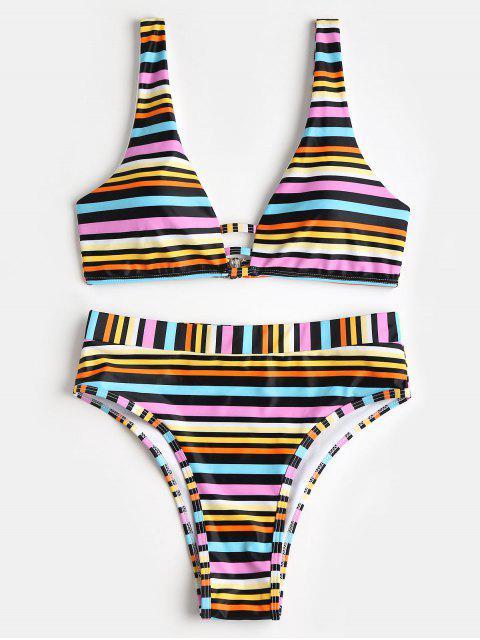 unique Rainbow Stripe Padded High Cut Bikini Set - WHITE L Mobile