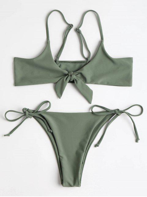 Bralette anudado parte superior y cadena Bikini Bottoms - Ejercito Verde S Mobile