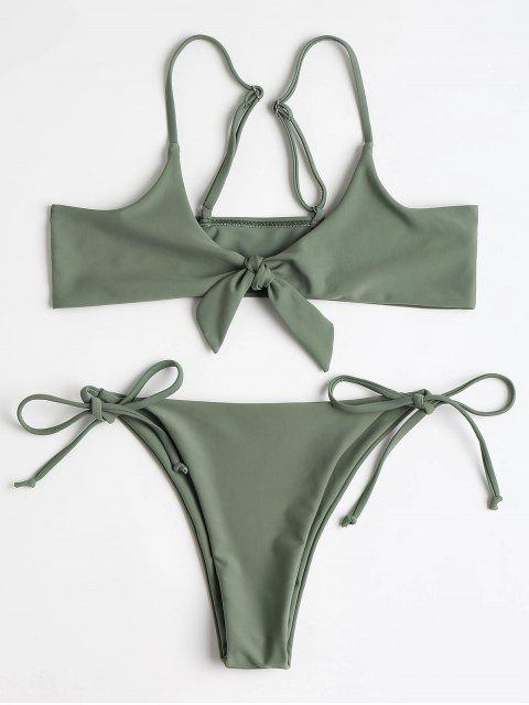 women's Bralette Knotted Top and String Bikini Bottoms - ARMY GREEN L Mobile