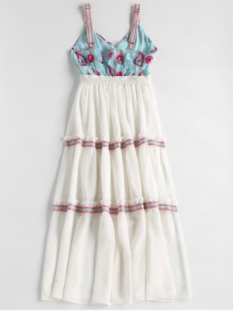 Vestido de fiesta bordado de Tulle Bodice Midi - Blanco M Mobile