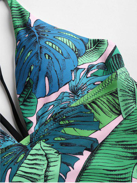 best Tropical Leaf Print High Cut One-piece Swimsuit - JUNGLE GREEN S Mobile