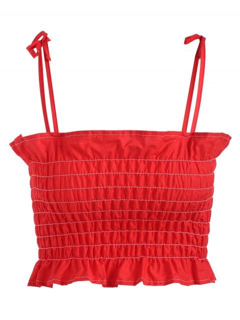 fancy Tie Shoulder Smocked Cami Crop Top - FIRE ENGINE RED S Mobile