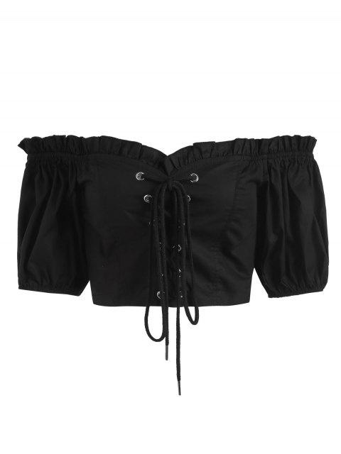Schnürung aus der Schulter Shirting Crop Top - Schwarz S Mobile