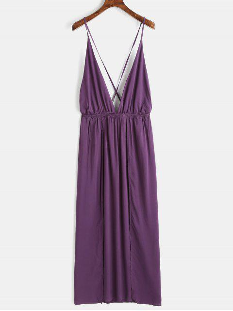 fancy High Slit Maxi Slip Dress - PURPLE HAZE M Mobile