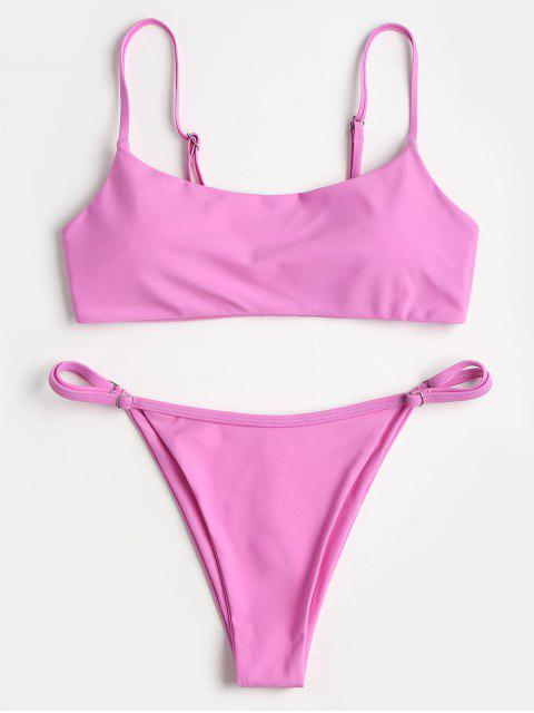 unique Padded Swim Top and Thong Bottoms - NEON PINK L Mobile