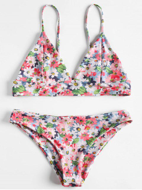 trendy Flower Print Cami Bikini - LIGHT PINK L Mobile