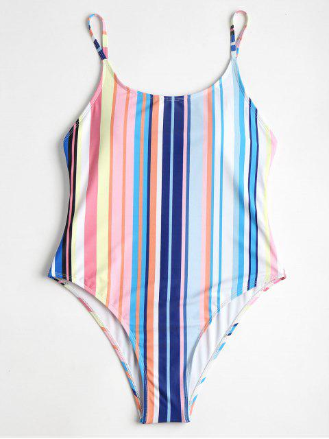 new Colorful Striped High Cut One Piece Swimsuit - MULTI L Mobile