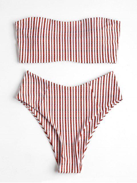 Hoch Taillierter Gestreifter Bandeau Bikini Badeanzug - Rot L Mobile