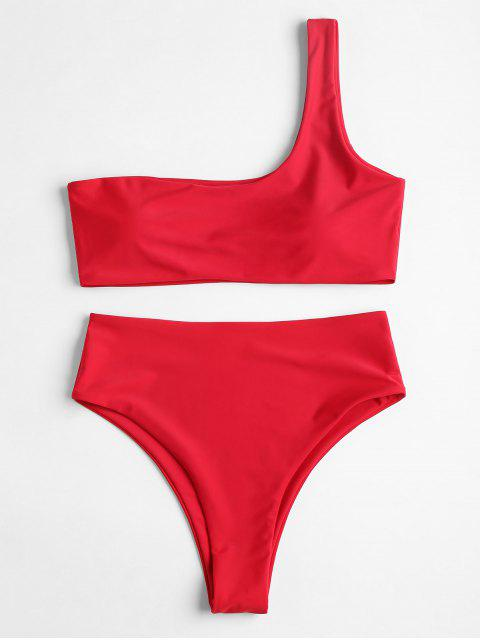 new One Shoulder High Waisted Bikini Set - RED M Mobile