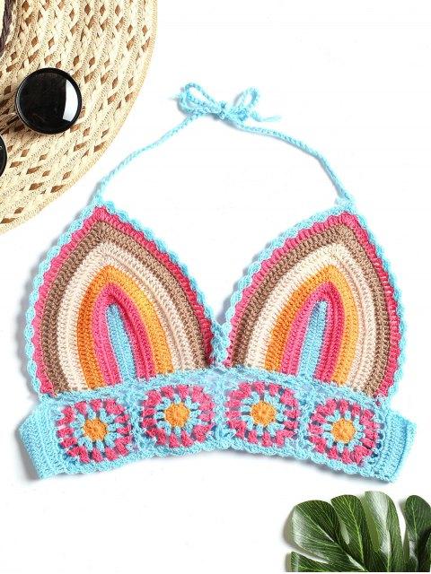 Top de bralette con croché a rayas - Multicolor Talla única Mobile