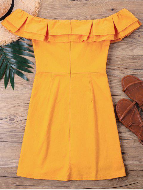 women Petite Flounce Short Dress - BEE YELLOW XL Mobile