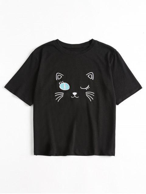 Camiseta linda bordada - Negro Talla única Mobile