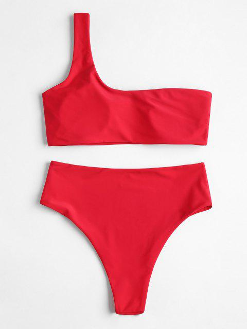 Einziger Schulter- Bikini-Set mit Hoher Taille - Rot S Mobile