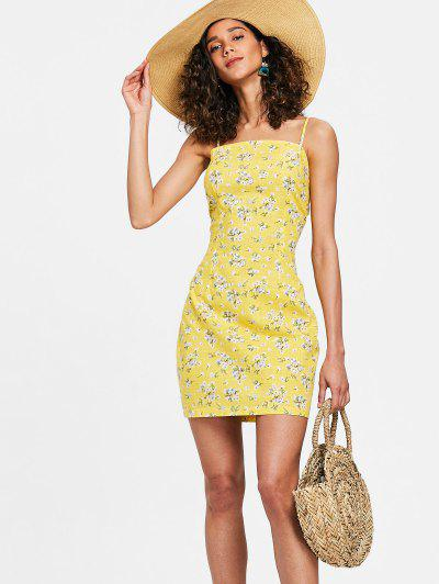 Darted Bow Tie Mini Floral Dress - Corn Yellow M