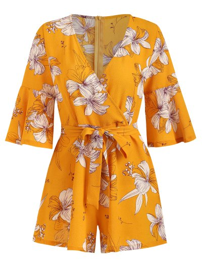 Bell Sleeve Surplice Floral Cute Romper - Bee Yellow Xl