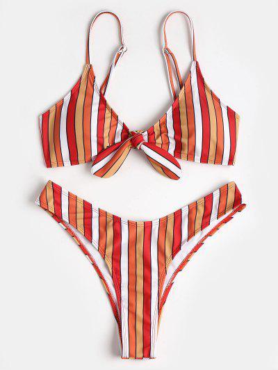 Contrast Stripe Knotted High Leg Bikini - Multi S
