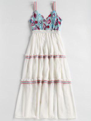 Vestido de fiesta bordado de Tulle Bodice Midi