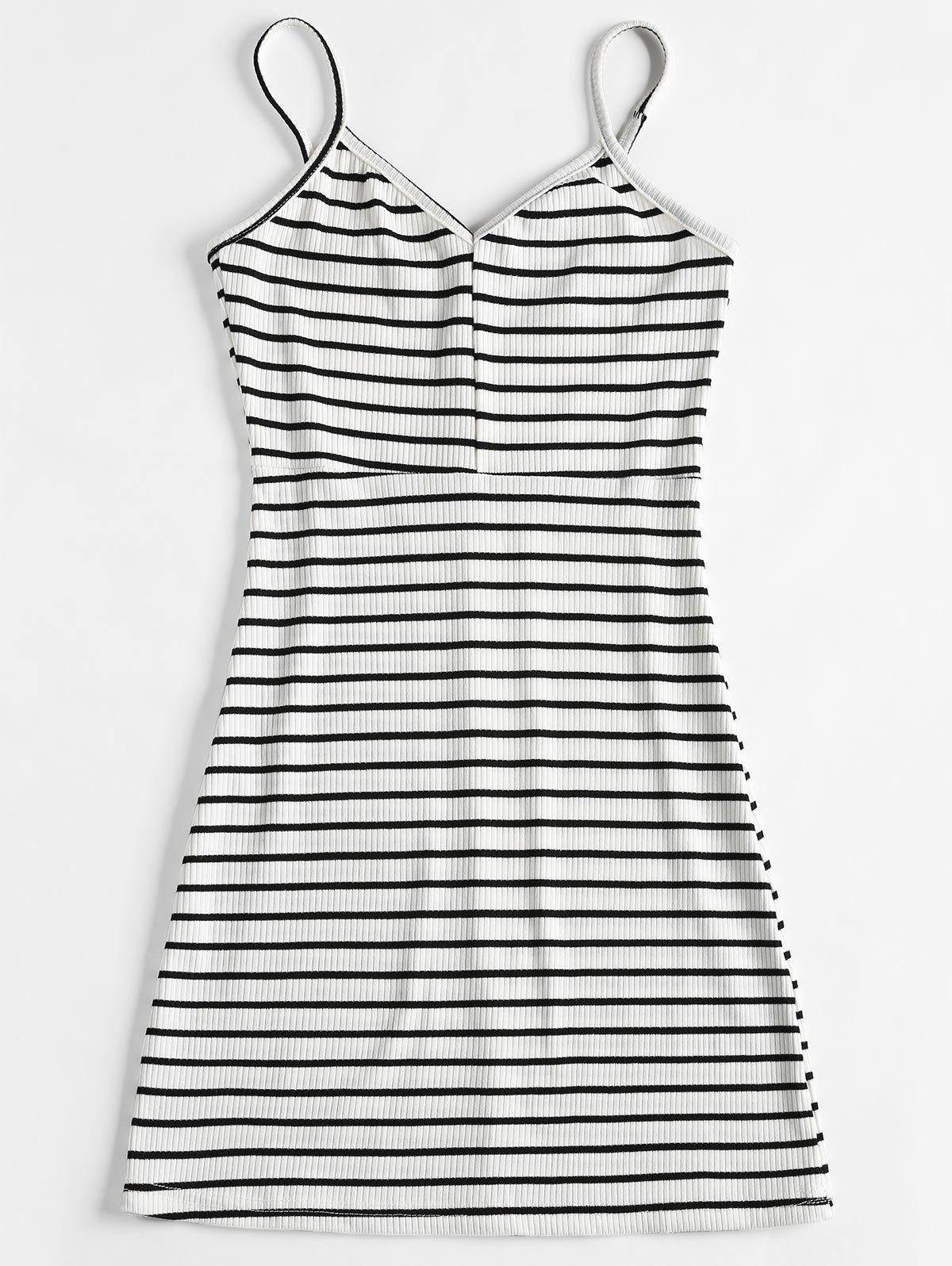 Slip Ribbed Striped Mini Dress 260441703