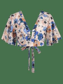 Corto S Top Floral Multicolor Plunge Flutter V gxHZqwBd
