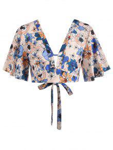 V Floral S Multicolor Plunge Top Flutter Corto q75fIA