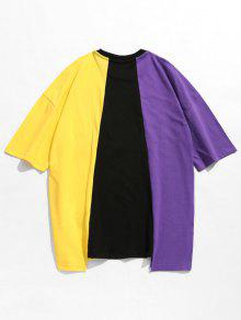 L Shoulder Color Block Drop Negro Tee 7XTwqU