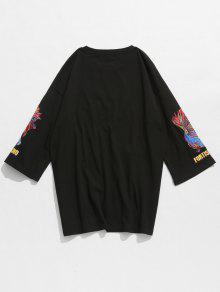 De M Camiseta Pescado Algod Negro Letras Con 243;n Bordada De 4Cdwqz