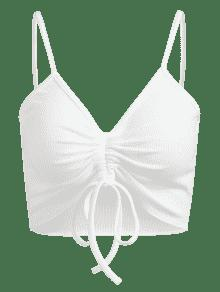 Blanco M Acanalada Top Recortada Cami Crop wa6Hq