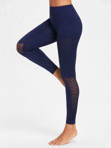 Sculpt Perforated Sports Leggings - البحريه الزرقاء L