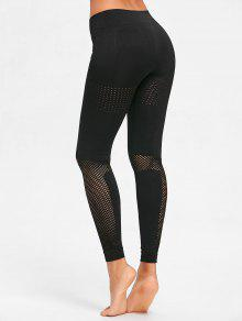 Sculpt Perforated Sports Leggings - أسود M