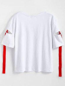 T Cutout Letter Ribbons Shirt Blanco qE5gyzOpcw