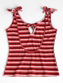 Espalda Rojo Mangas Sin Abierta Camiseta S Con pw78ttg